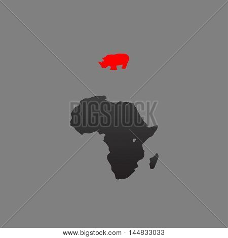 Rhino and Africa. Vector illustration on gray background