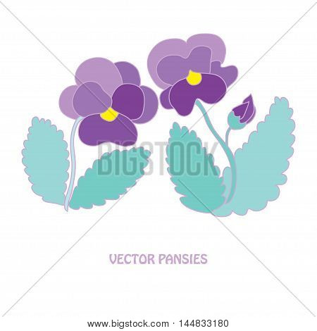 Elegant hand drawn pansy flowers design elements. Can be used for wedding baby shower mothers day valentines day cards invitations banners posters scrapbooking elements gift paper ornament