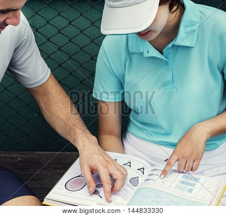 Tennis Trainer Athlete Coaching Strategy Tactics Concept
