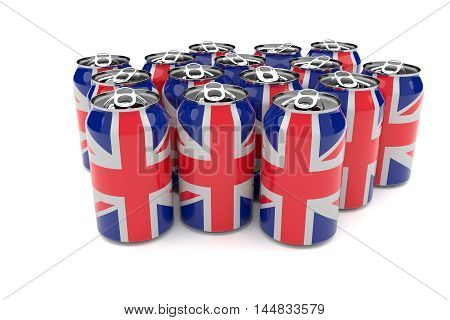 Union Jack UK Flag Aluminum Beer Cans Isolated On A White Background 3d illustration