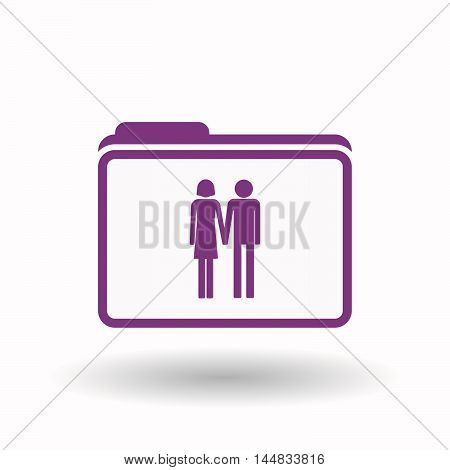 Isolated  Line Art Folder Icon With A Heterosexual Couple Pictogram