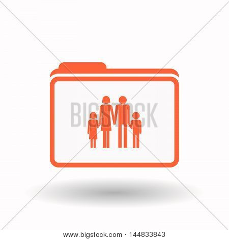 Isolated  Line Art Folder Icon With A Conventional Family Pictogram