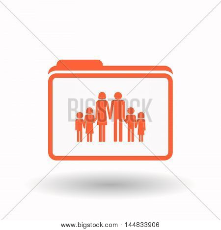 Isolated  Line Art Folder Icon With A Large Family  Pictogram
