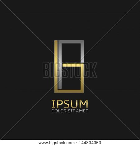 B letters logo template for your business company. Golden and silver colors