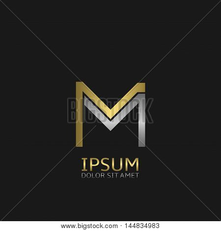M letters logo template for your business company. Golden and silver colors