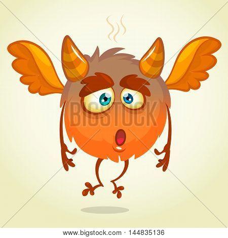 Cute cartoon flying monster surprised. Halloween vector fluffy orange monster