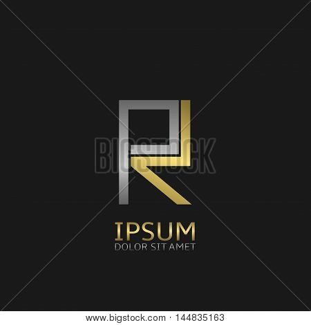 R letters logo template for your business company. Golden and silver colors