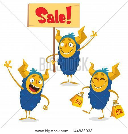 Happy Halloween cartoon monsters set for shopping discount banners. Monster holding sale sign. Monster holding yellow sale bags