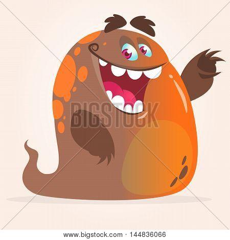 Happy cartoon sludge monster. Halloween vector ghost waving