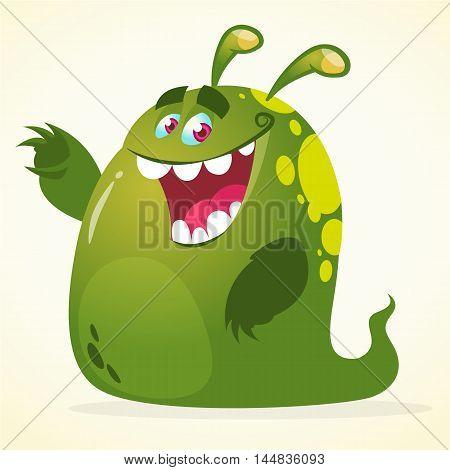 Cartoon funny green blob monster. Halloween ghost vector character