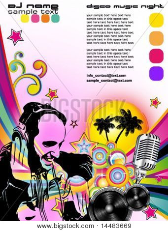 Disk Jockey Shape in colorful Music Contest Background for Disco Flyers