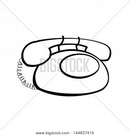Vintage rotary phone vector linear icon. Black and white