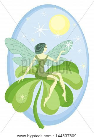 the forest fairy sits on a leaf of a clover with four petals
