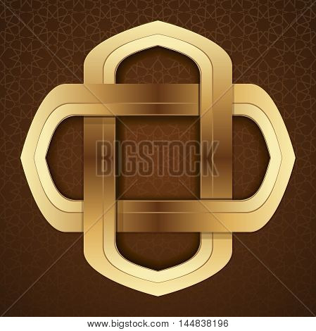 Elegant islamic template design in brown arabic background. Gold frame in arabic style on a brown background. Girih. Islamic decorative art. Vector illustration