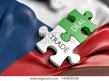 Czech Republic trade deals and international commerce concept, 3D rendering