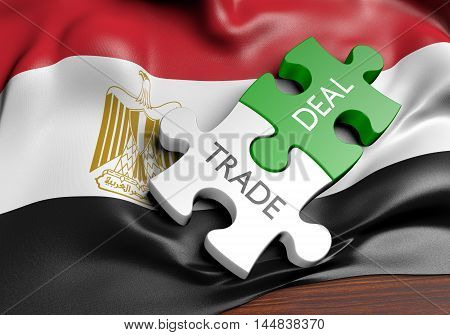 Egypt trade deals and international commerce concept, 3D rendering