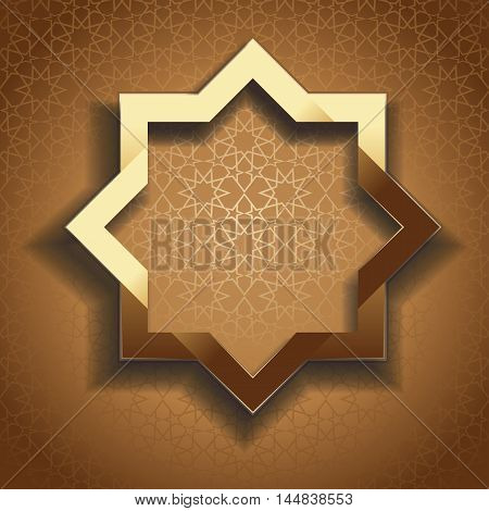 Golden frame in arabic style with empty space for text. Gold octagon on beige patterned background. Elegant islamic template design. Islamic background. Vector illustration