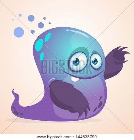 Happy cartoon blue blob slimy monster. Halloween vector isolated