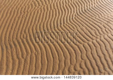 Furrows and ripples on wet sand texture horizontal view