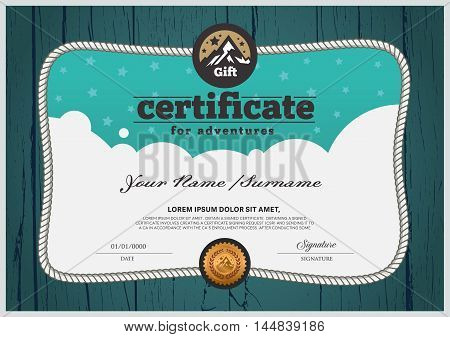 Adventure certificate design template. Certificate for family.Certificates with a wooden floor backdrop.
