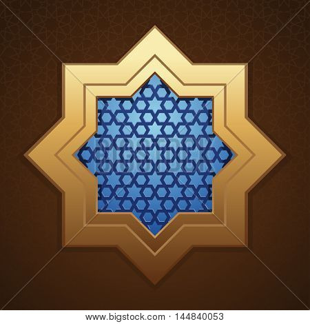 Background mosque window with arabic pattern. Template for Ramadan greeting card. Vector illustration