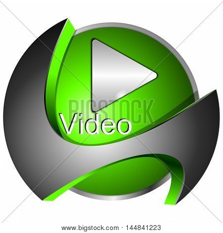 decorative silver green Play Video Button - 3D illustration