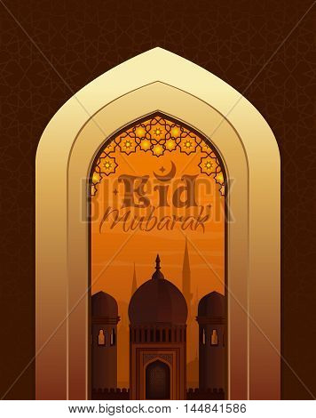 Islamic beautiful greeting card with greeting lettering - Eid Mubarak. View of the Arab city through the arch at the mosque. Vector illustration