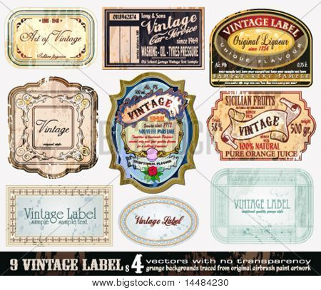 Vintage Labels Collection - 9 Design-Elemente mit original antikem Stil - Set 4