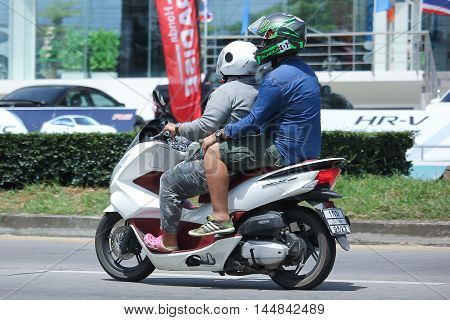 CHIANGMAI THAILAND -AUGUST 10 2016: Private Honda Motorcycle PCX 150. On road no.1001 8 km from Chiangmai Business Area.