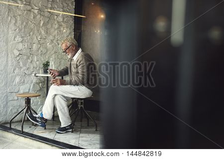 Senior Man Using Smart Phone Connection Concept