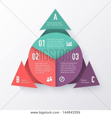 Vector elements for infographics. Template of a pie chart with triangle arrows. Business concept for presentation, annual report, web design.