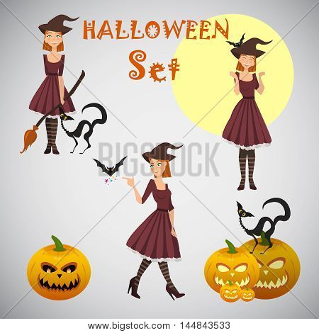 young happy and attractive witches vector Halloween collection