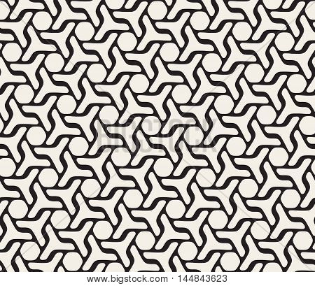 Vector Seamless Rounded Lines Pattern. Abstract Geometric Background Design