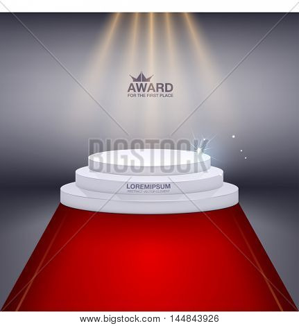 Road to the podium with red carpet. Scene illuminated by a spotlight. Tribune, awarding the winner a place