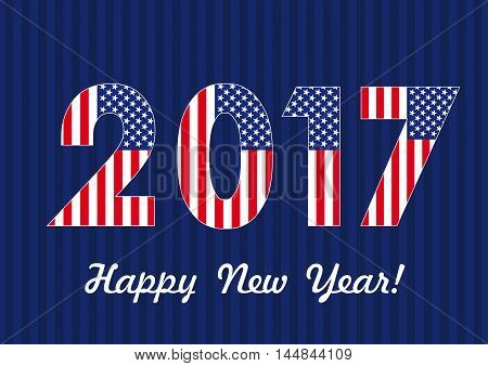 2017 happy new year USA banner. Vector card Happy New Year 2017 with American flag