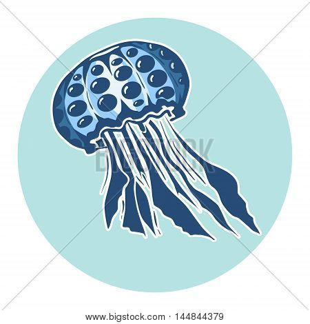 Hand drawn jellyfish. Marine life, design element for summer vacation vector illustration