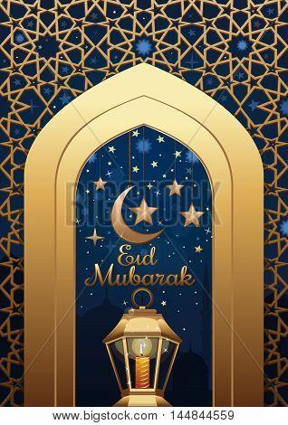 Ramadan islamic background with greeting inscription - Eid Mubarak. Greeting template with lighting lantern. Arabic design. Islam holly month. Arabic lamp celebration Muslim festival. Vector illustration
