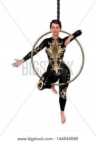 3D Rendering Circus Performer On White
