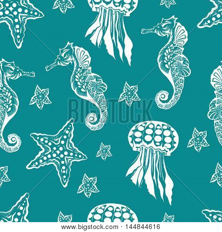 Seamless Marine theme black background. Endless pattern with seahorse, jellyfish and starfish in retro style
