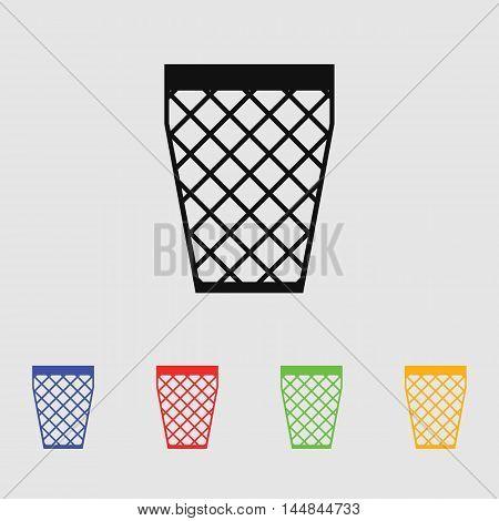 Trash bin icon vector illustration. Flat design style