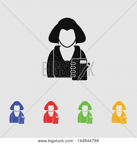 Girl with notebook vector icon for web and mobile.