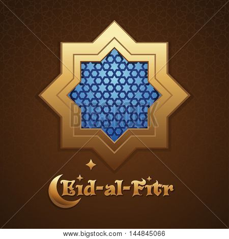 Background mosque window with arabic pattern. Greeting inscription - Eid al Fitr. Islamic greeting card. Vector illustration