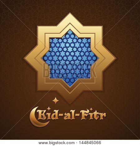 Background mosque window with arabic pattern. Greeting inscription - Eid al Fitr. Islamic greeting card. Vector illustration