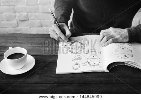 Man Drawing Sketch Design Label Artwork Concept