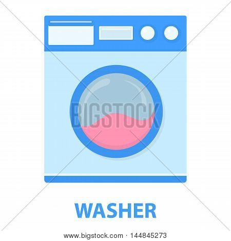 Washer cartoon icon. Illustration for web and mobile.