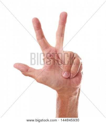 Old man  hand on a white background