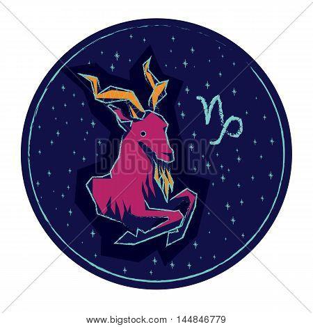 Zodiac sign Capricorn on night starry sky background. Vector illustration.