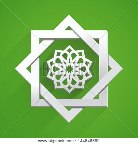 Arabic Islamic tracery on green background. Islamic paper art. Element for design. It can be used for decorating of posters invitations greeting cards leaflets bags or clothes. Vector illustration