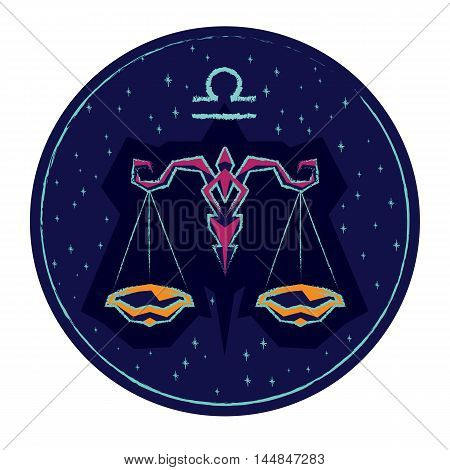 Zodiac sign Libra on night starry sky background. Vector illustration.