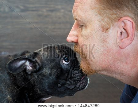 Muzzle of dog and the man's face in profile